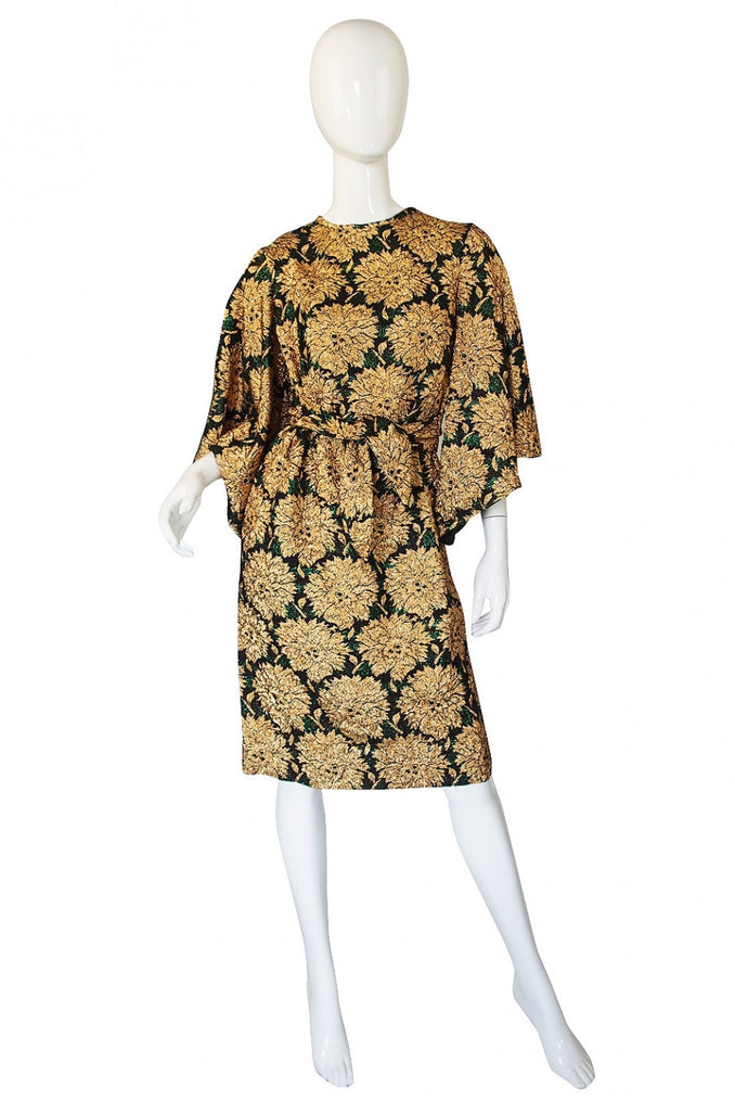 1960s Mr Blackwell Caped Sleeve Dress
