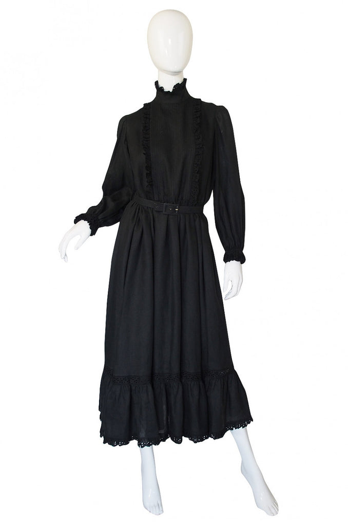 1970s Valentino Black Linen Dress