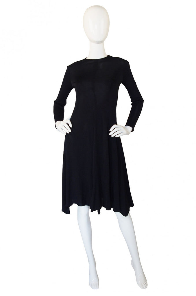 1970s Sant'Angelo Black Slinky Jersey Dress