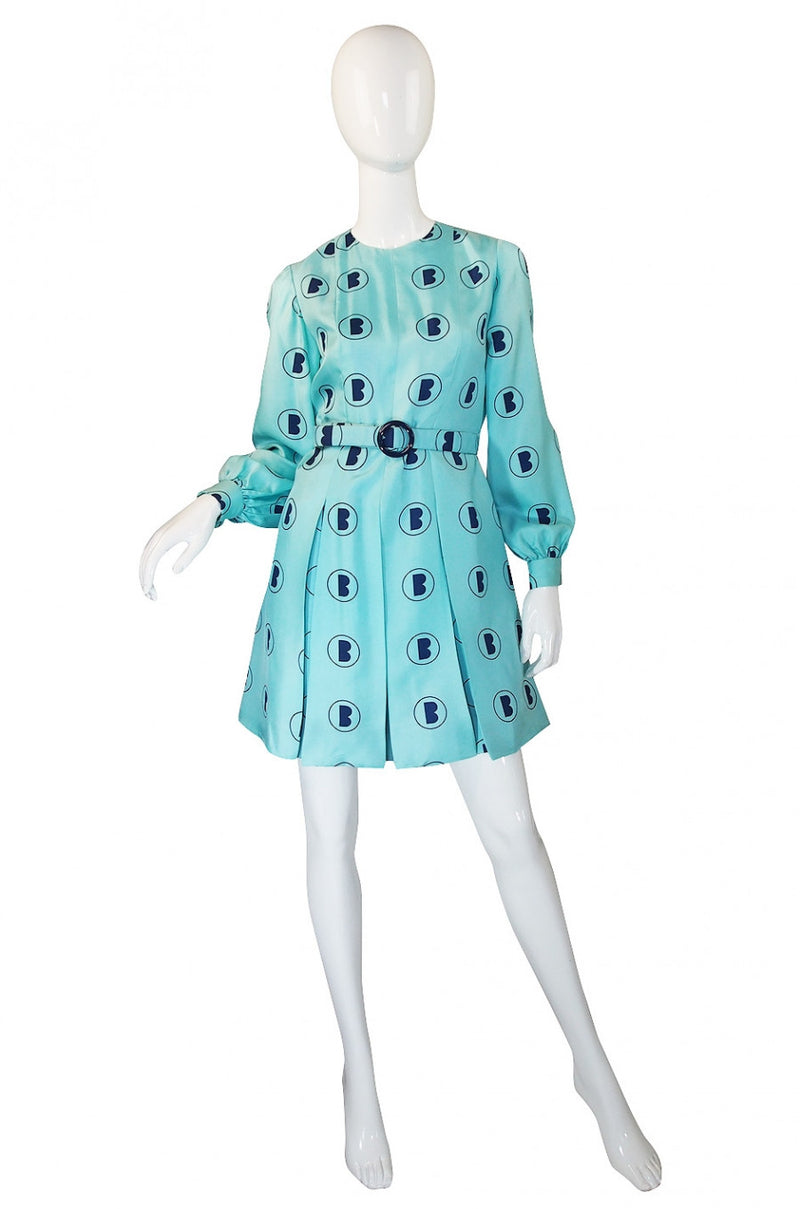 1960s Turquoise Barocco Silk Dress Set