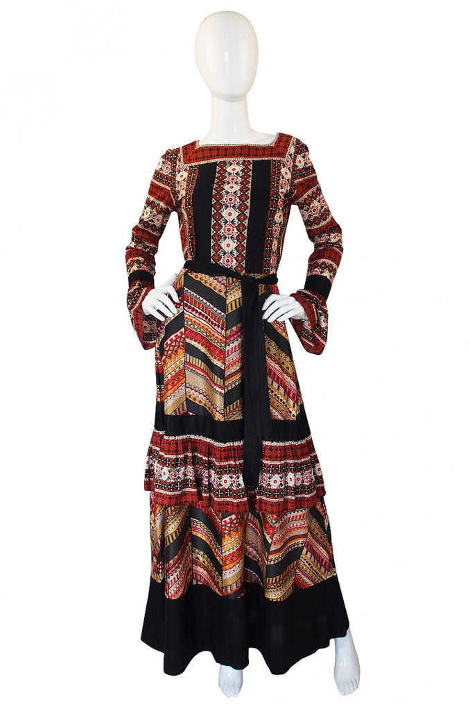 1960s Printed Jean Varon Maxi Dress