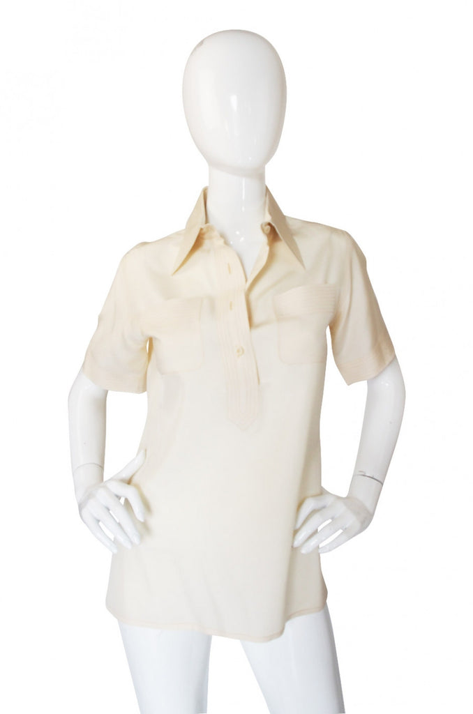 1970s Top Stitch Silk Valentino Top