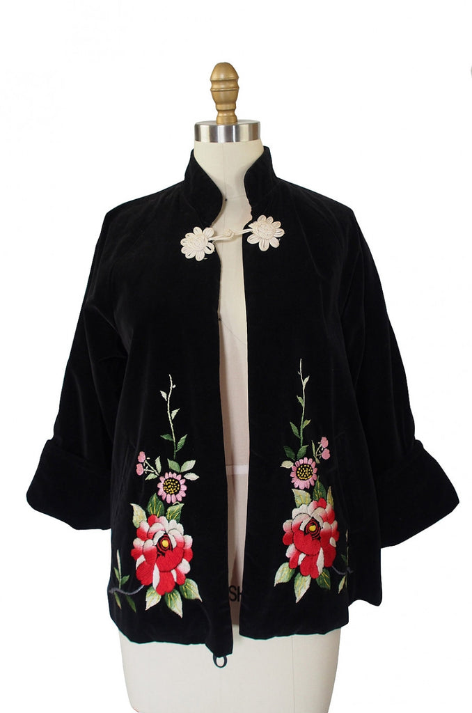 1940s Velvet & Embroidered Jacket