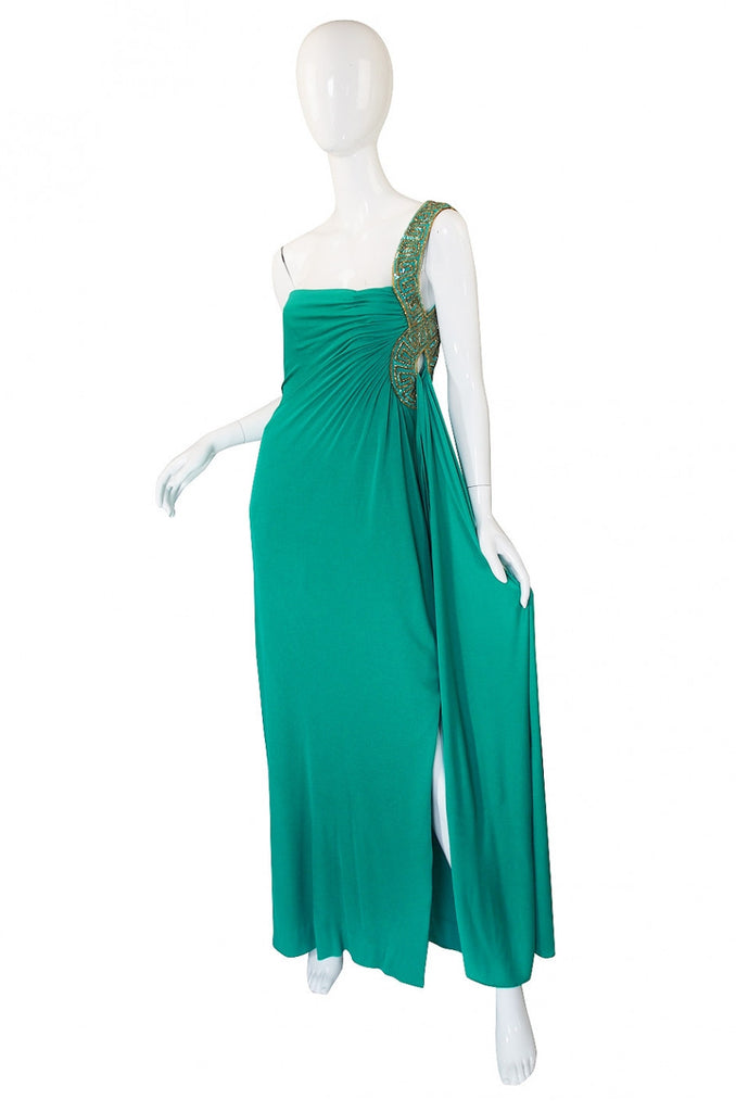 1970s Travilla Jersey Goddess Gown