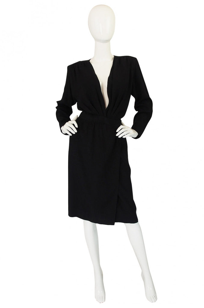 1985 Yves Saint Laurent Plunge Wrap Dress