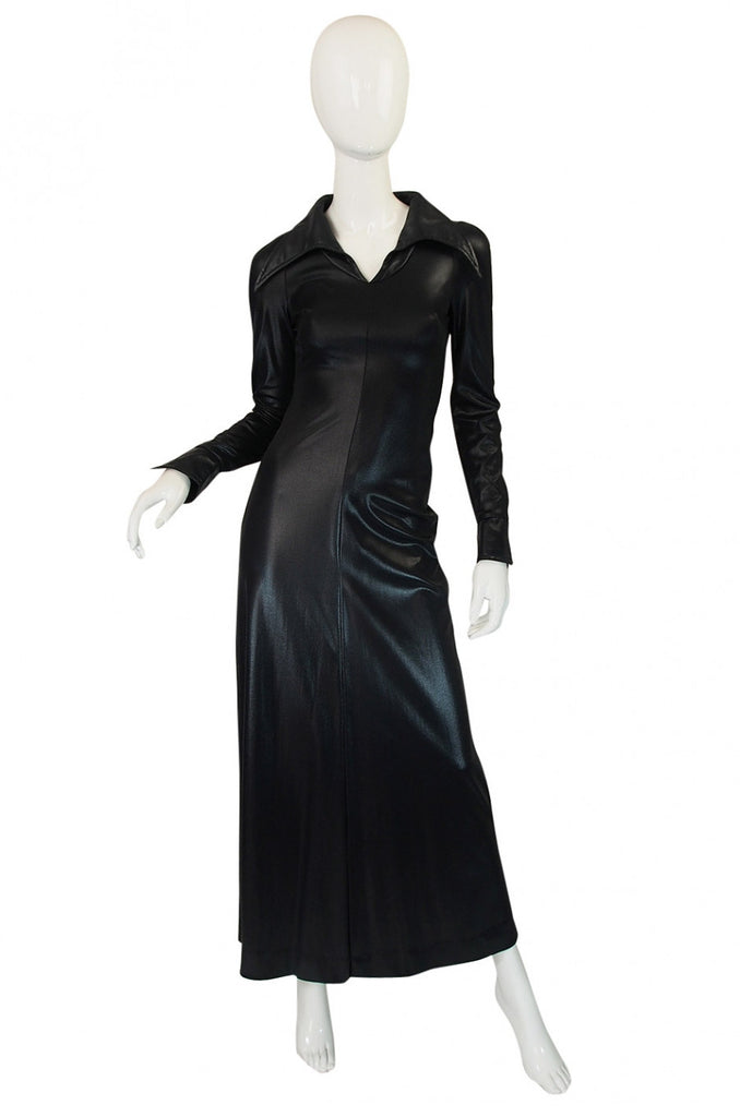 1970s Rare Lee Bender Wet Look Maxi Dress