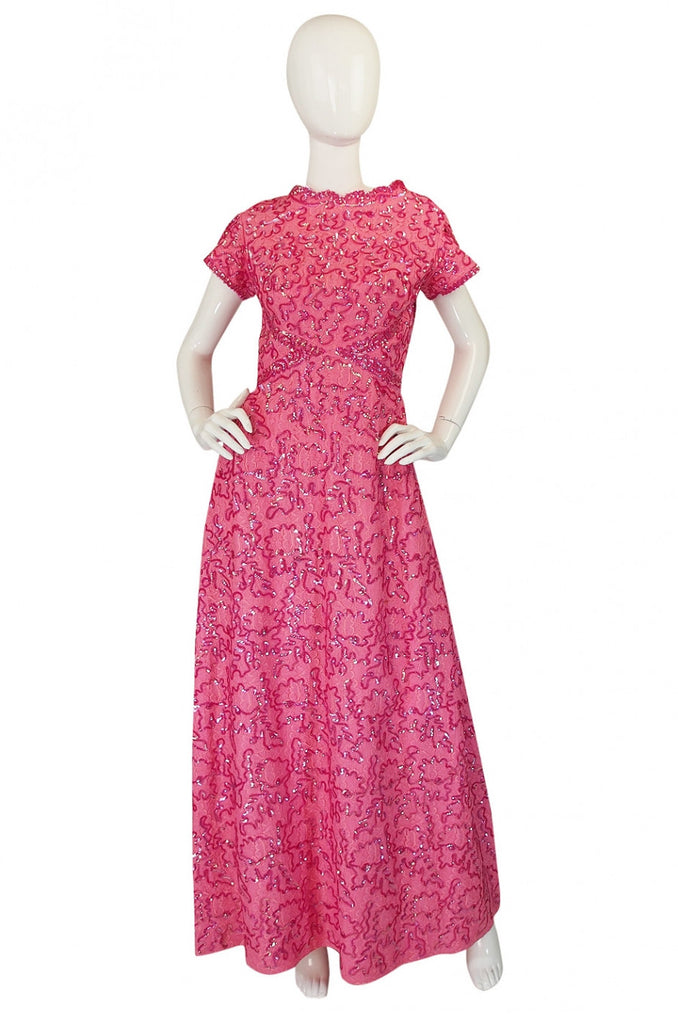 1960s Pink Sequin & Lace Hostess Dress