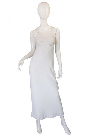 1978 Sexy White Knit Courreges Maxi Dress