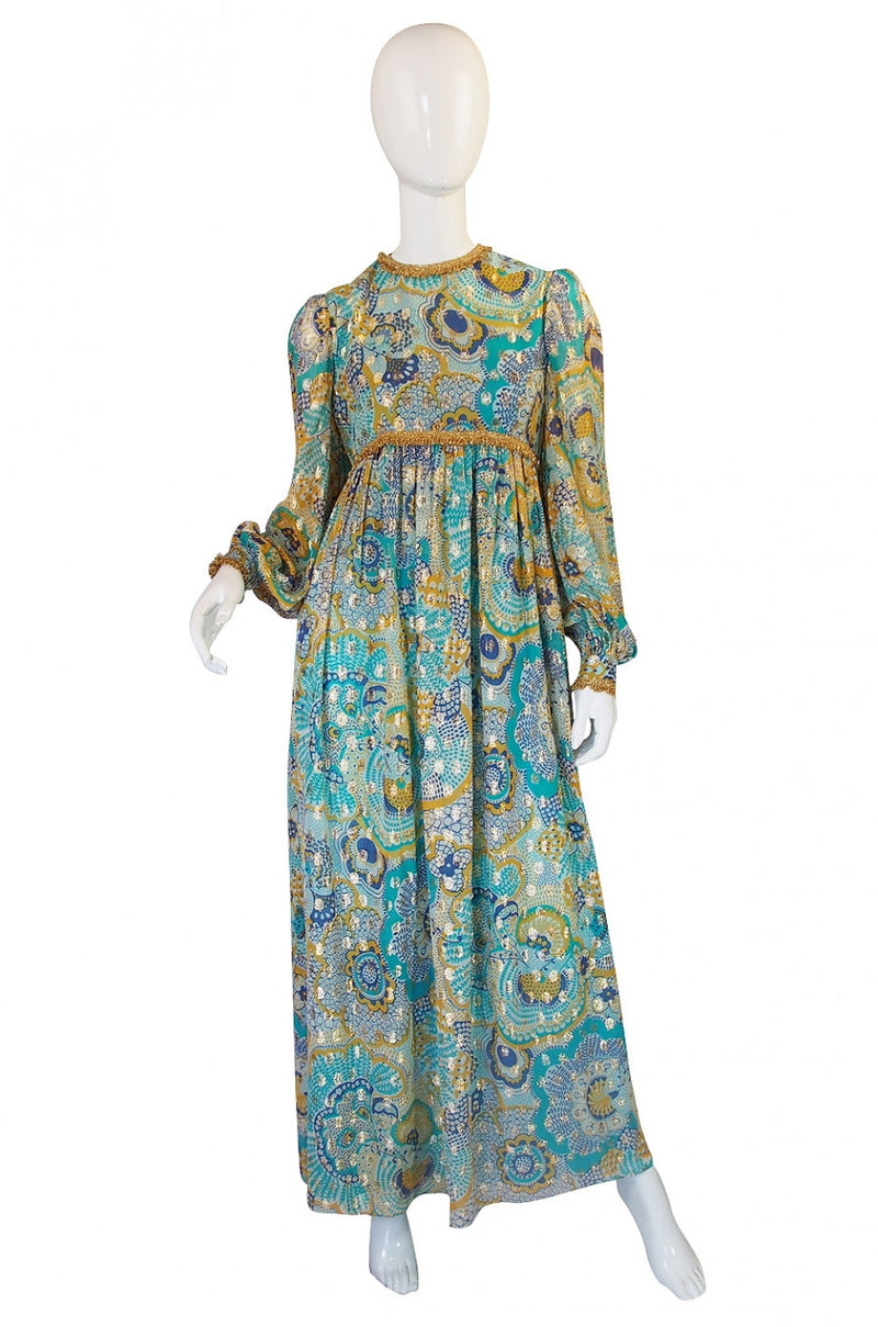 1960s Silk Metallic Mollie Parnis Gown