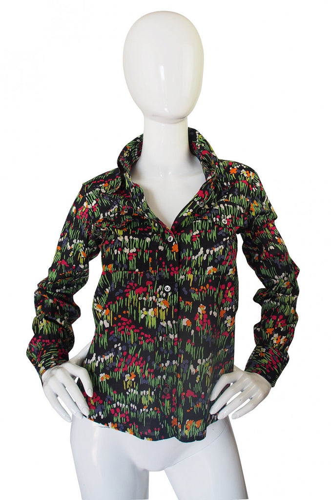 1970s Floral Yves Saint Laurent Cotton Top