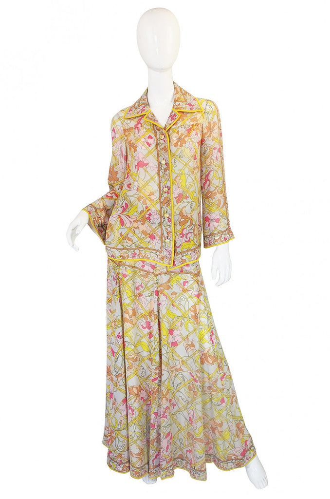 1960s Floating Silk Chiffon Emilio Pucci Skirt & Top Set