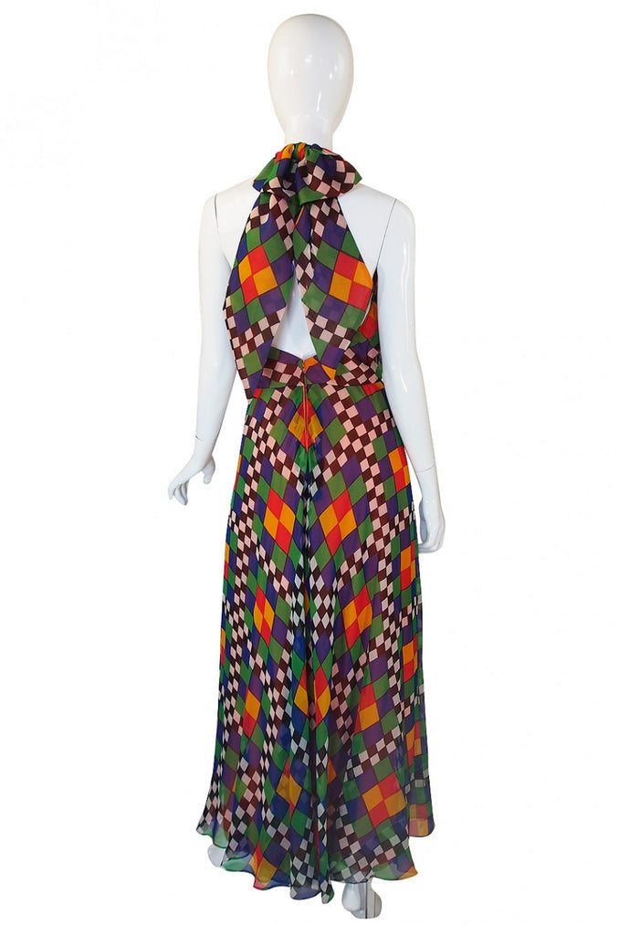 1970s Gino Charles Graphic Chiffon Haler Dress
