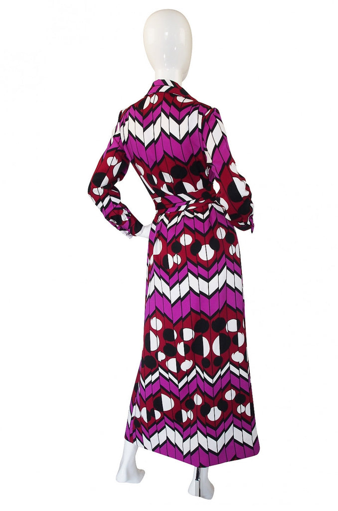 1970s Lanvin Print Maxi Shirt Dress