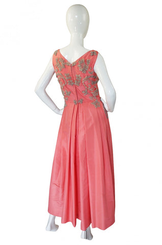1950s Heavily Beaded Silk Coral Gown
