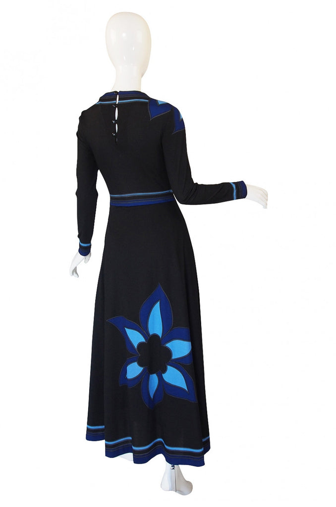 1970s Louis Feraud Maxi Flower Dress