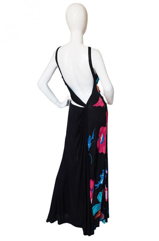 1990s Versace Couture Printed Jersey Cut Out Gown