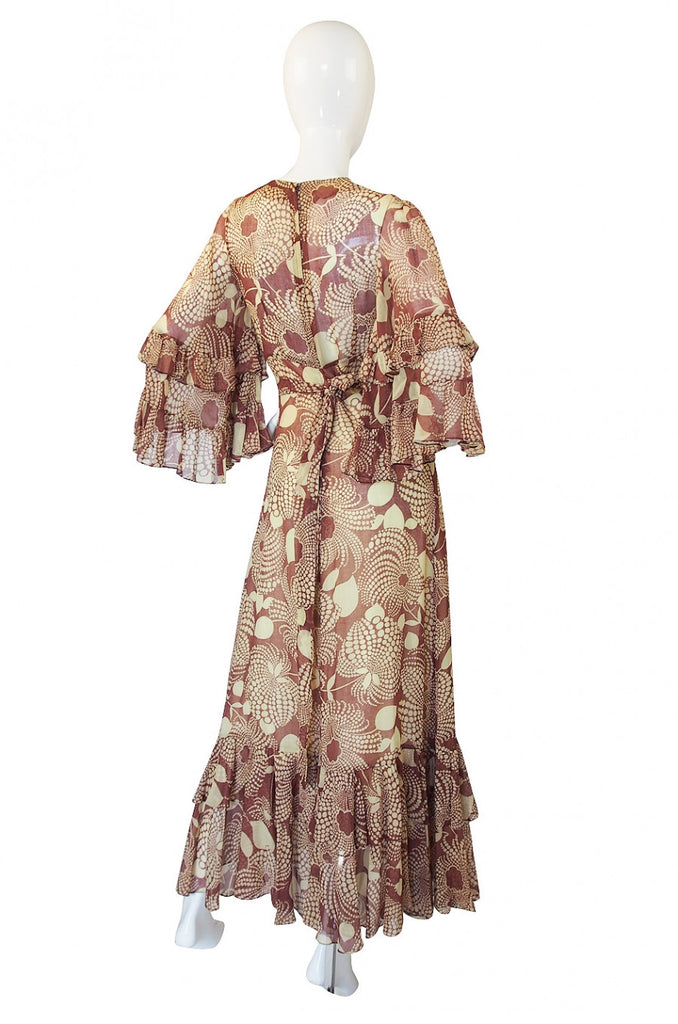 1960s Ruffled Gina Fratini Maxi Dress