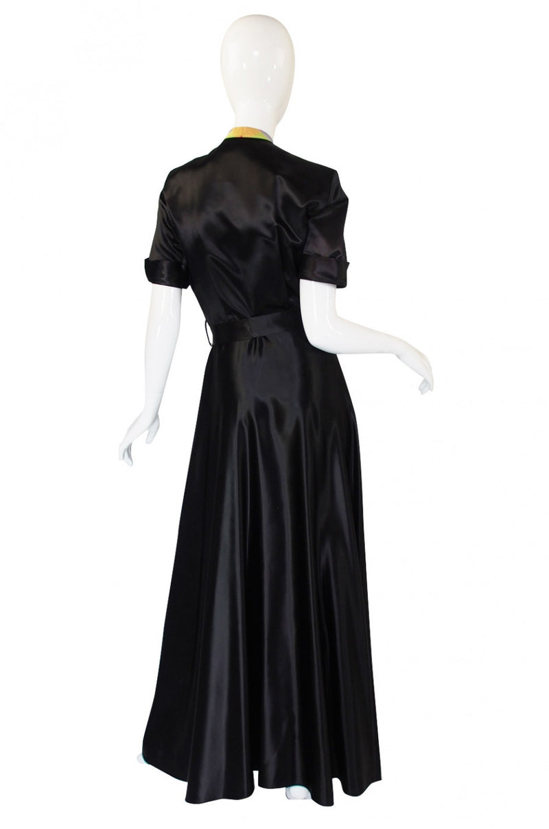 1940s Slipper Satin & Taffeta Plaid Gown