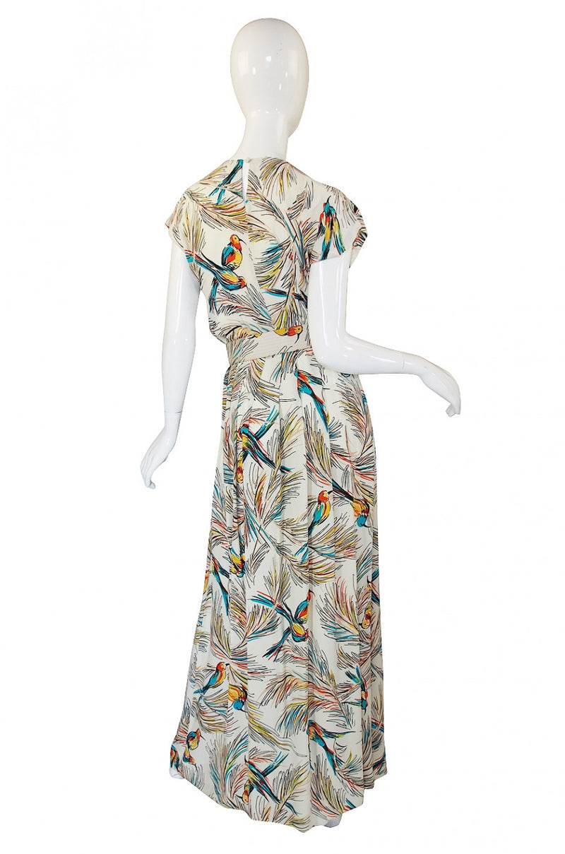 1940s Silk DuBarry Parrot Print Gown