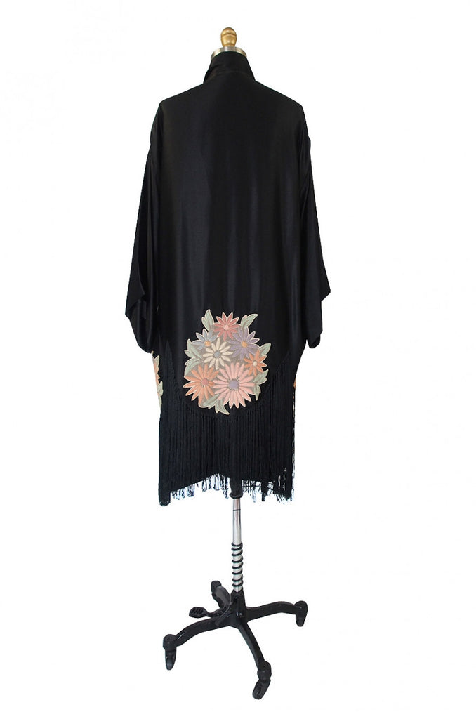 1920s Padded Flower Fringe Flapper Robe