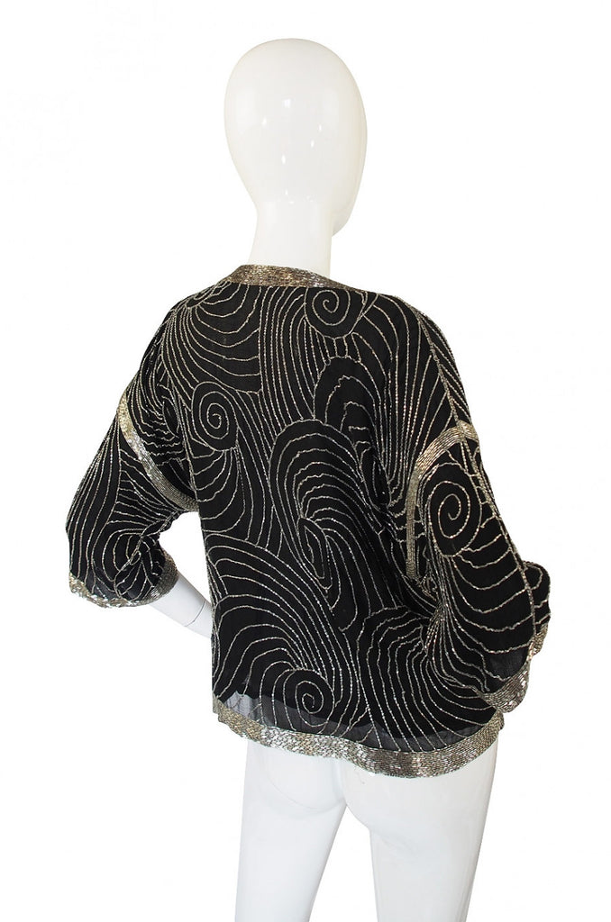 1970s Beaded Silk Top or Jacket