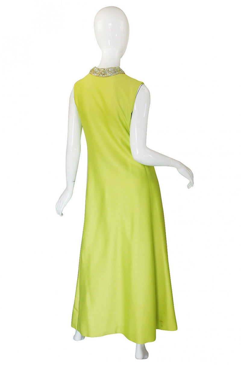 1960s Beaded Lime Maxi Dress