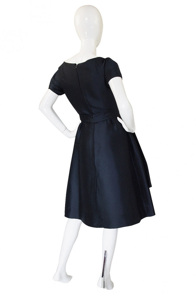 1950s Deep Navy Silk Dior Bow Dress