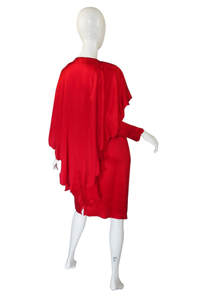 1980s Holly Harp Red Silk Dress
