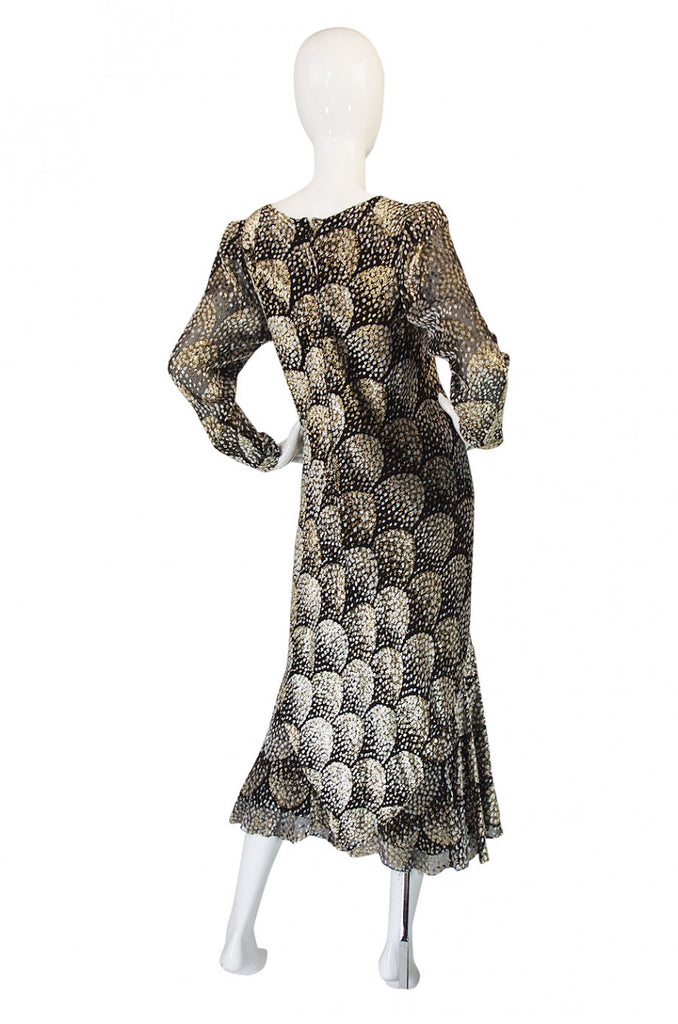 1970s Stavropoulos Metallic Silk Dress