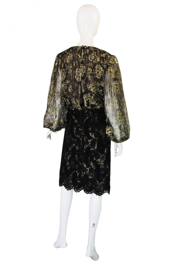 Stunning 1980s Gold Lace Bill Blass Cocktail Dress