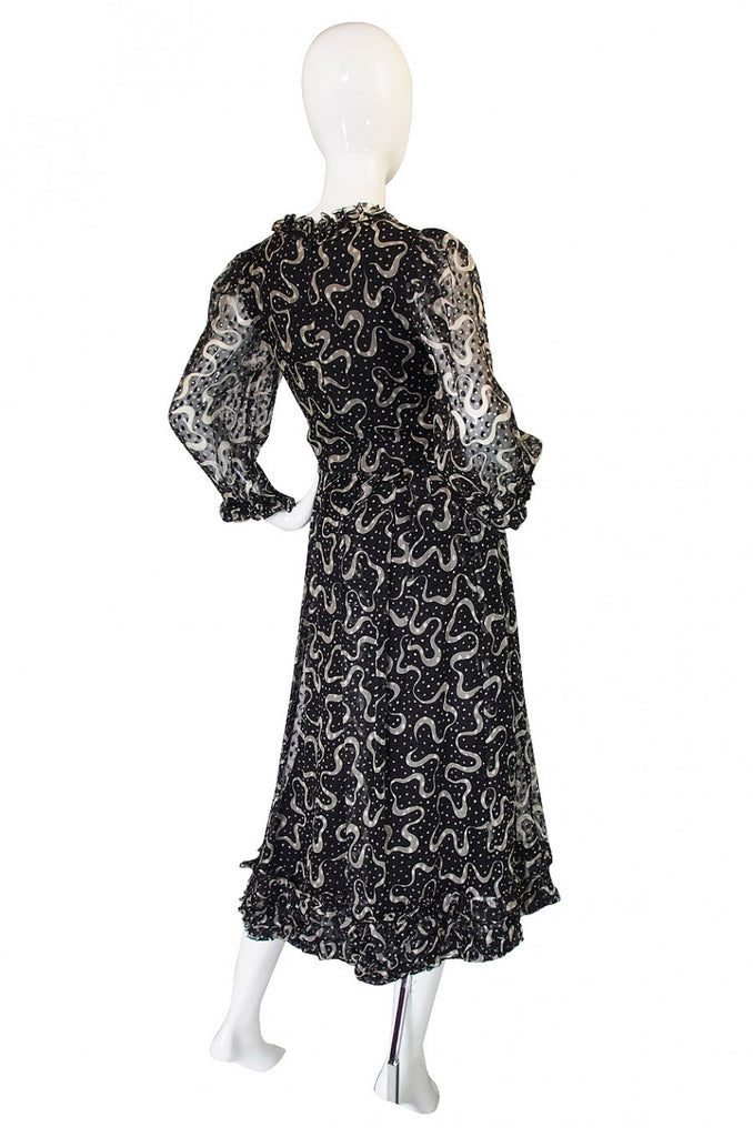 Rare 1960s Sybil Connolly Silk Ruffle Dress