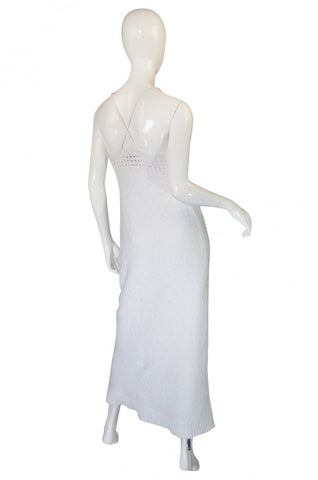 1970s Sexy White Knit Courreges Maxi Dress