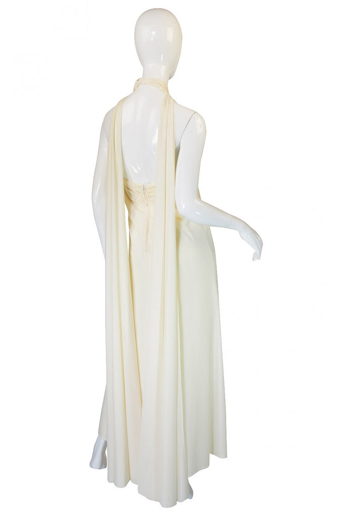 1970s Frank Usher Cream Jersey Dress
