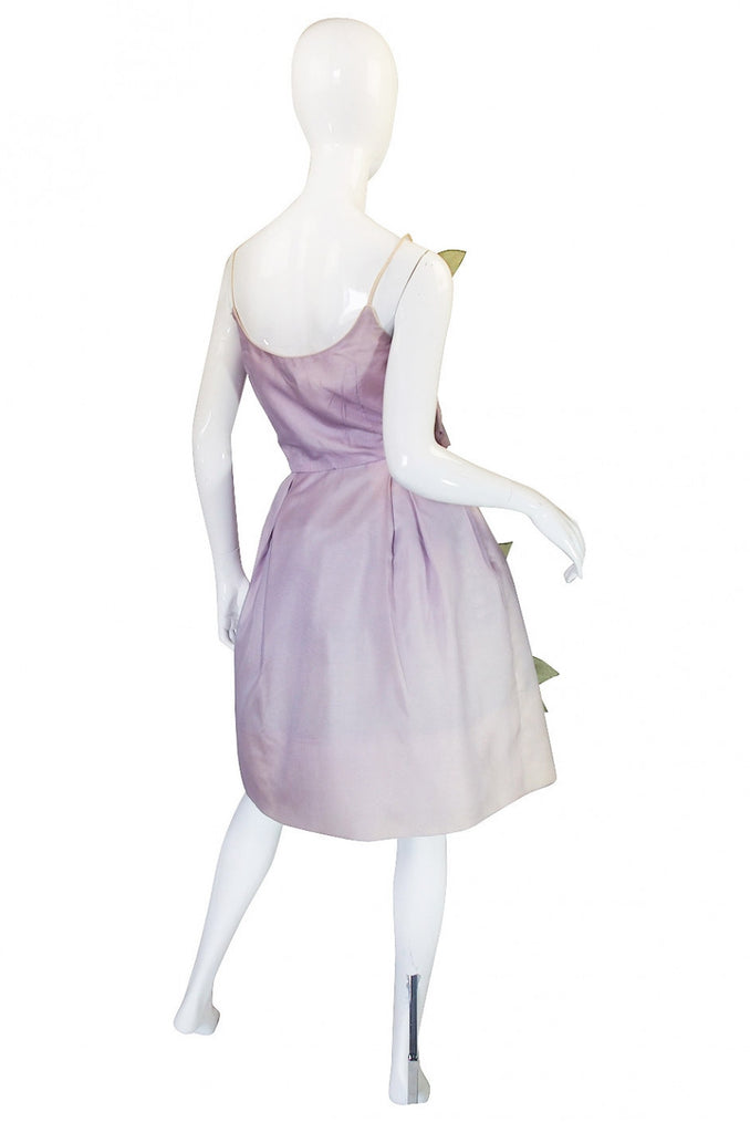 1950s Lavender Floral Dress
