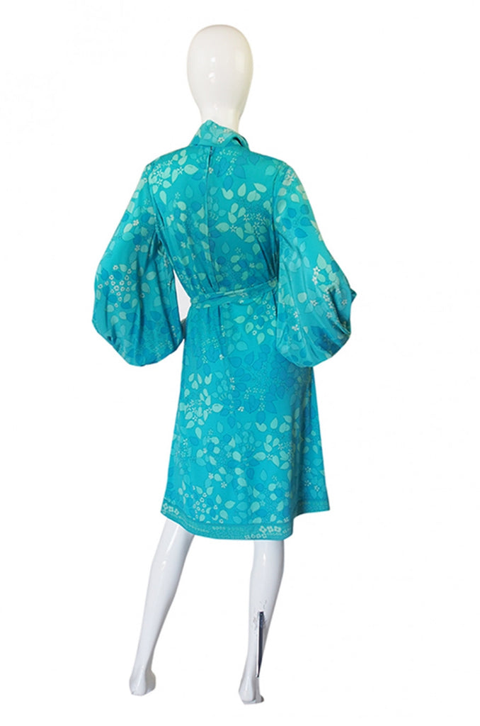 1960s Silk Balloon Sleeve Silk Bessi Dress