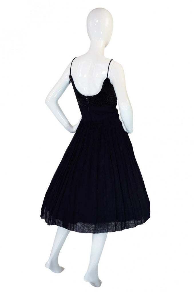 1950s Silk Chiffon & Sequin Party Dress