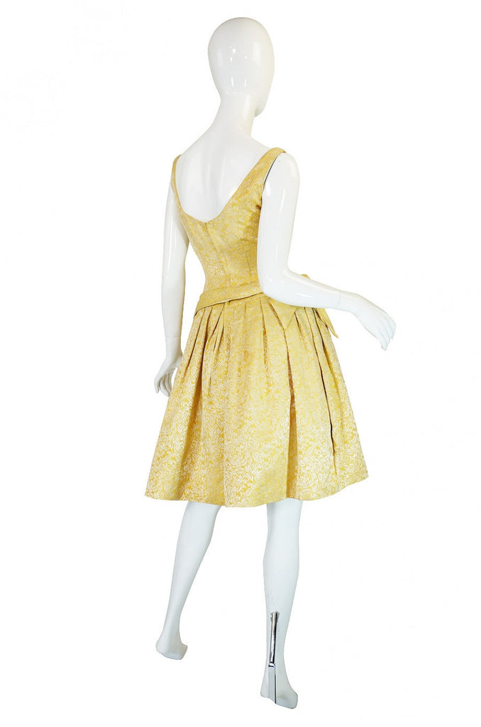 1950s Golden Silk Brocade Cocktail Dress