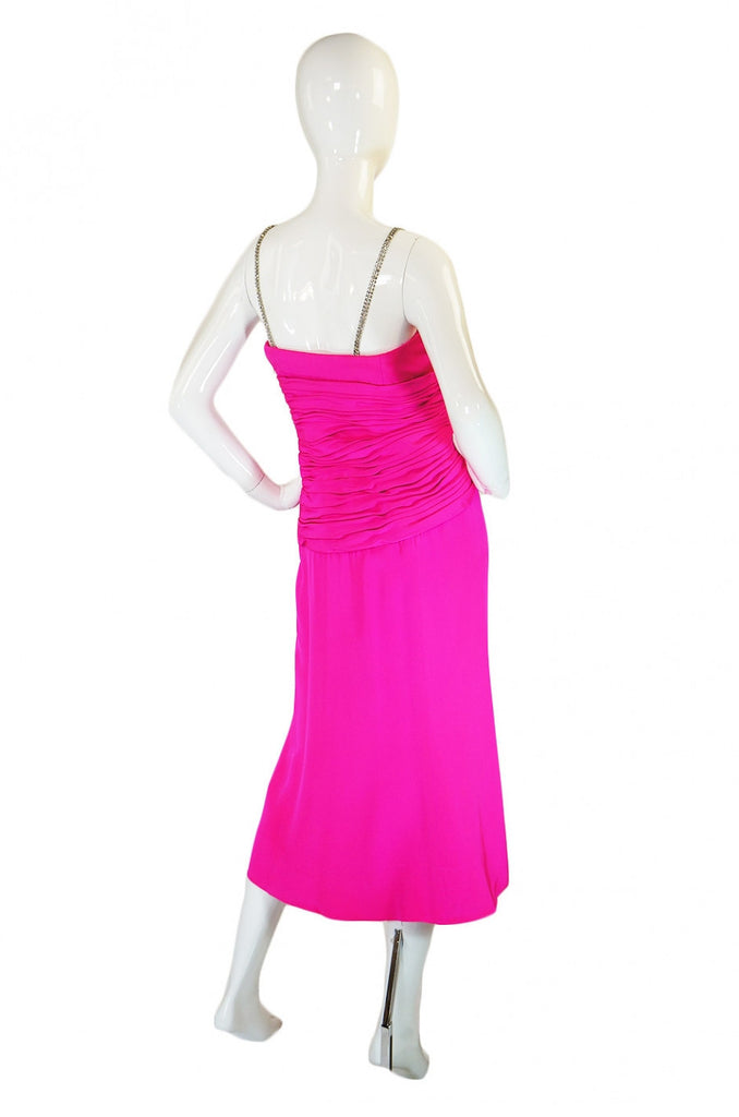 Beautiful 1970s Ted Lapidus Pink Silk Demi-Couture Dress