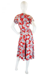 1940s Lily Print Red Rayon Swing Dress