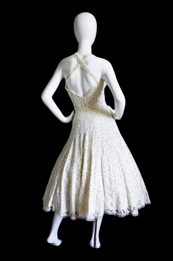 1950s Edith Small Lace Rhinestone Dress