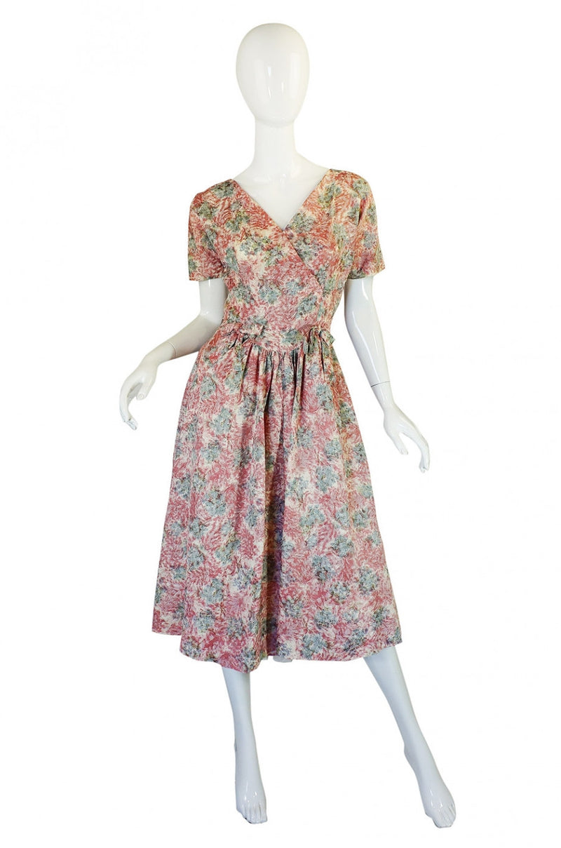1950s Pink Print Day Dress with Cape