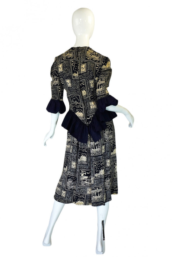 1940s Silk Peplum Printed Swing Dress