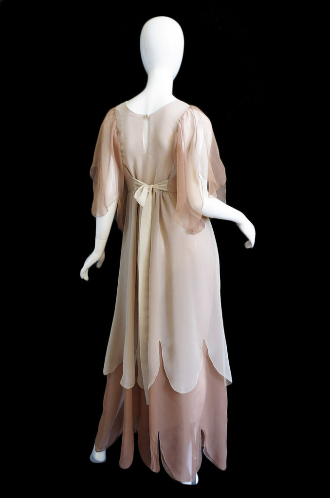 1970s Silk Chiffon Adolfo Petal Dress