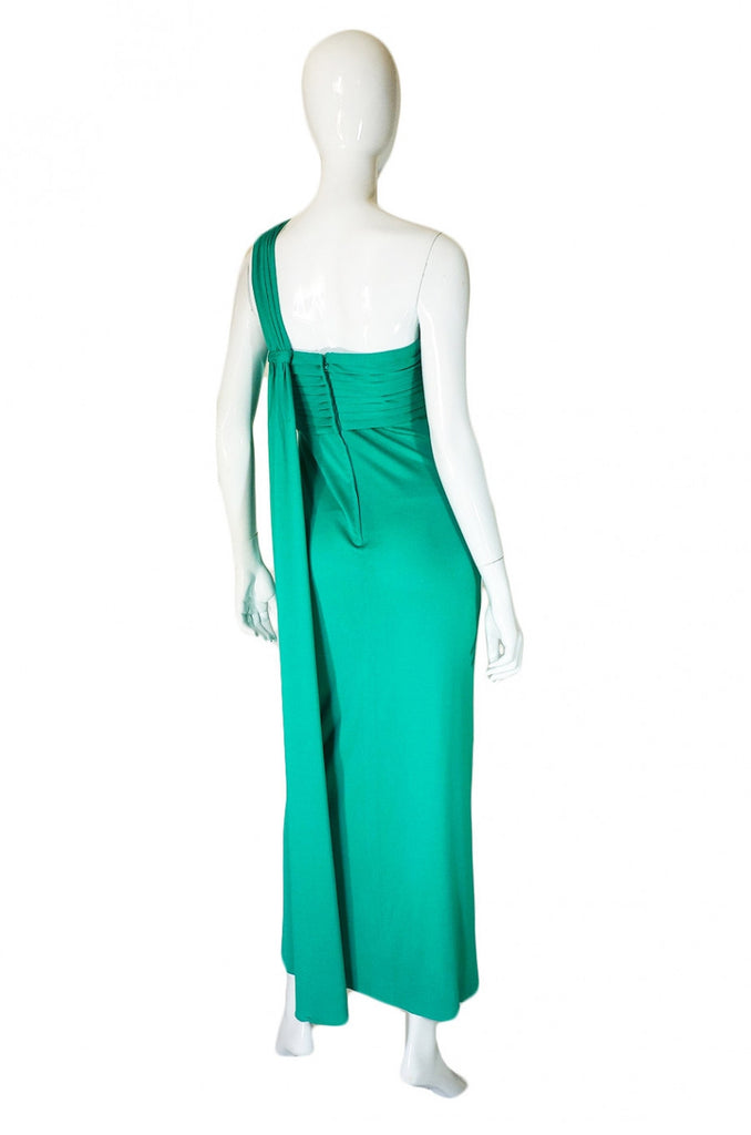 1970s Travilla One Shoulder Jersey Gown