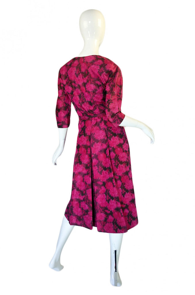 1950s Pink Floral Silk Cocktail Dress