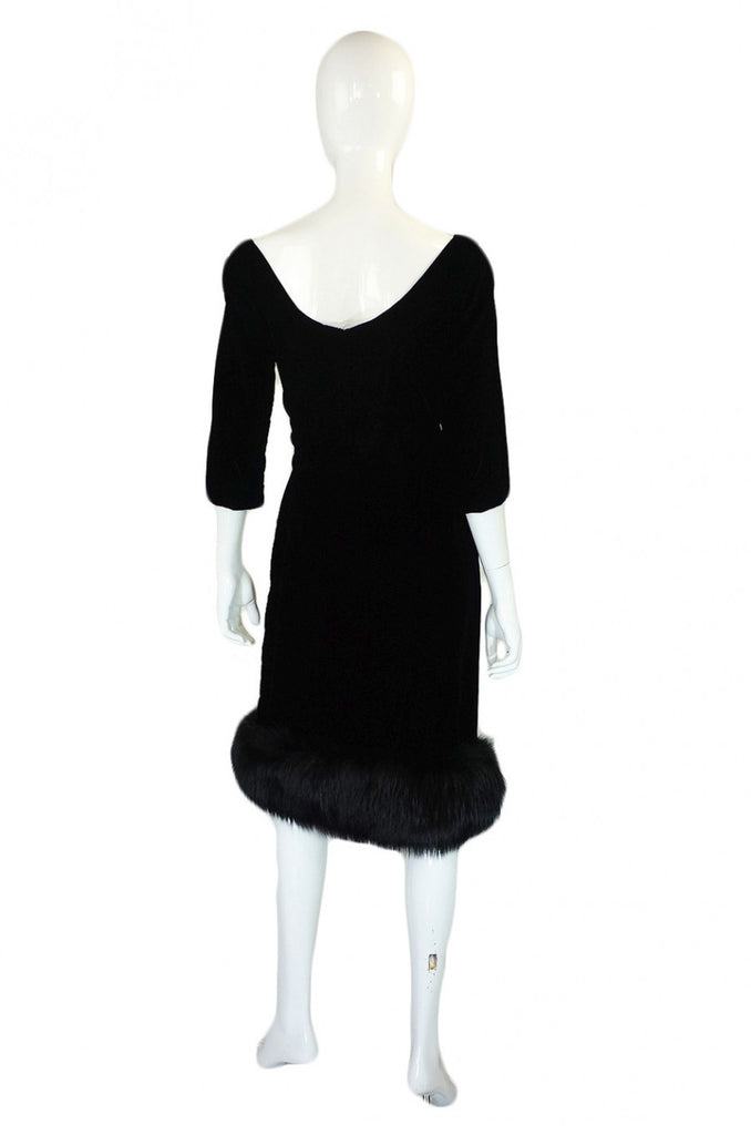 1950s Fox Trim Velvet Suzy Perette Dress