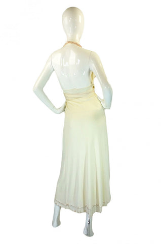 2001 Stephen Burrows Cream Wrap Dress