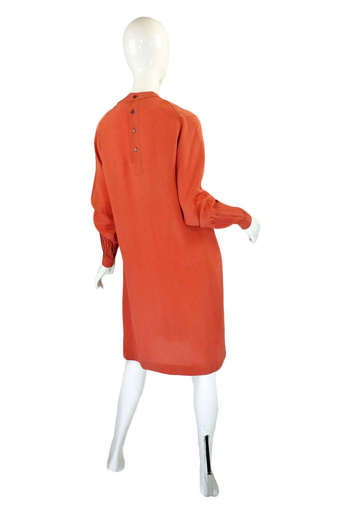 1970s Silk Pleated Salmon Chloe Dress