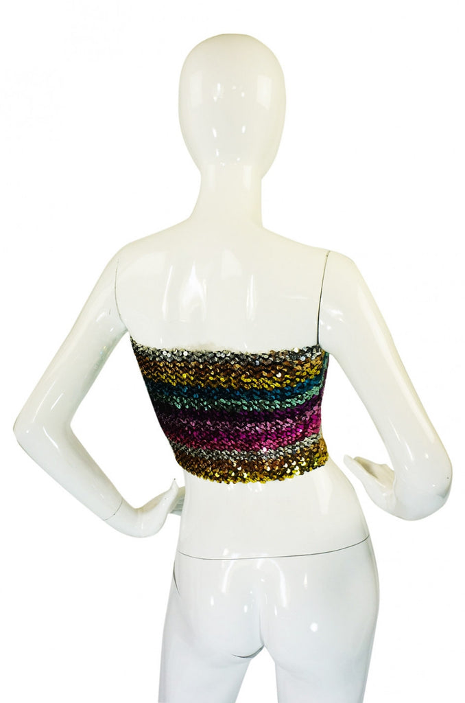 1970s Sequin Multi Stripe Tube Top