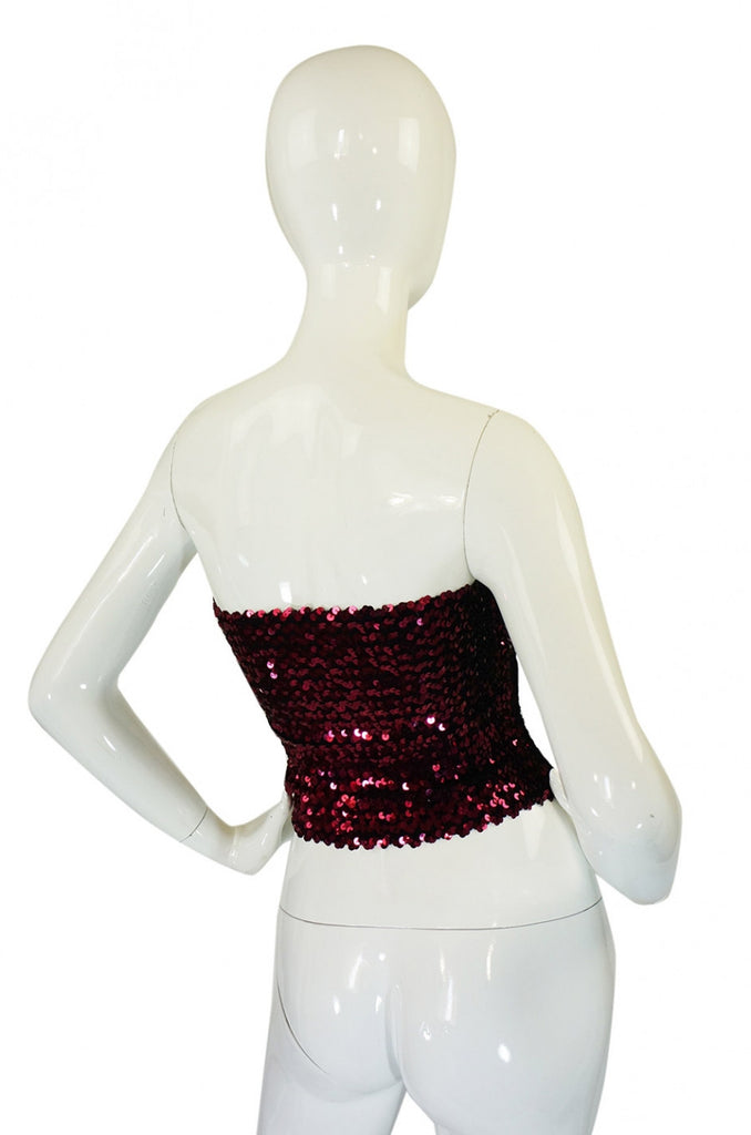 1970s Sequin Wide Ruby Red Tube Top